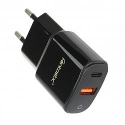 Netzteil Fort Type-C PD + USB-A FC3 18W in Schwarz