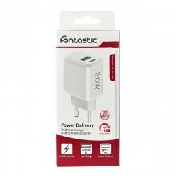 Netzteil Ovin, USB-A FC3 + Typ-C PD20W weiß