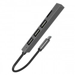 4-in-1 Multi-Port Slim USB Type-C Hub, grey
