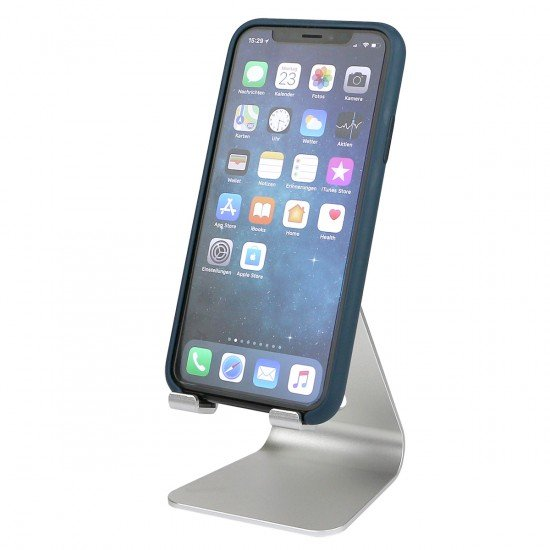 """Universal Aluminium Stand """"Holdit"""" silver for Tablet & Smartphone, viewing angle adjustable"""