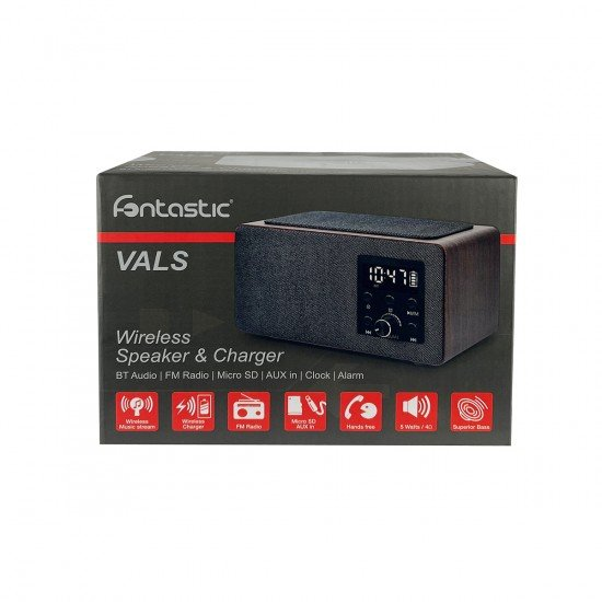 Wireless Speaker with FM Radio and Alarm Clock Inductive Charging, Card Reader, AUX, Wood Optics