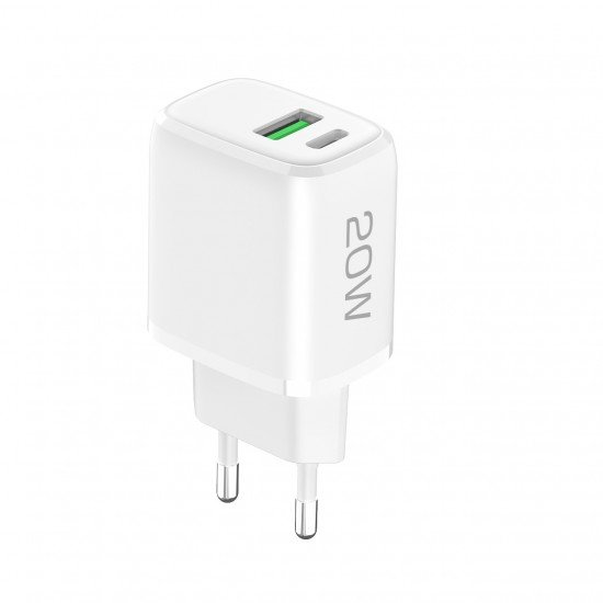Netzteil Ovin, USB-A FC3 + Typ-C PD20W weiß Power Delivery, Fast Charge 3, max. 3A