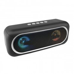 Wireless Loudspeaker Stereo Conga Black with LED Light, TWS compatible, FM radio, AUX